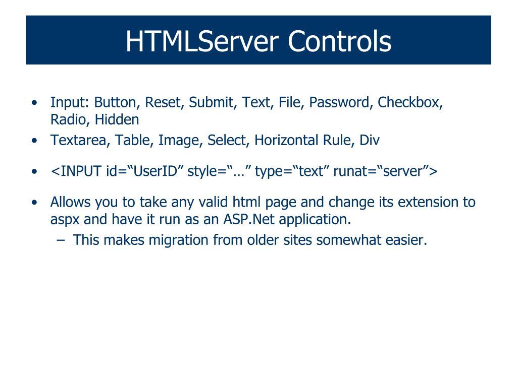 HTMLServer Controls