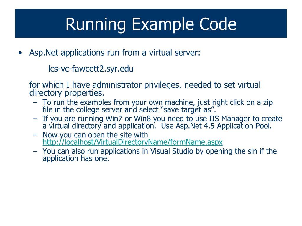 Running Example Code