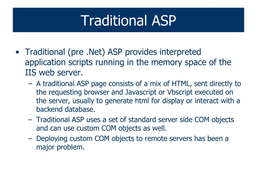Traditional ASP