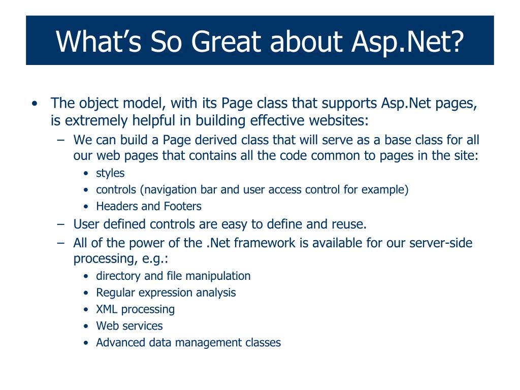 What's So Great about Asp.Net?