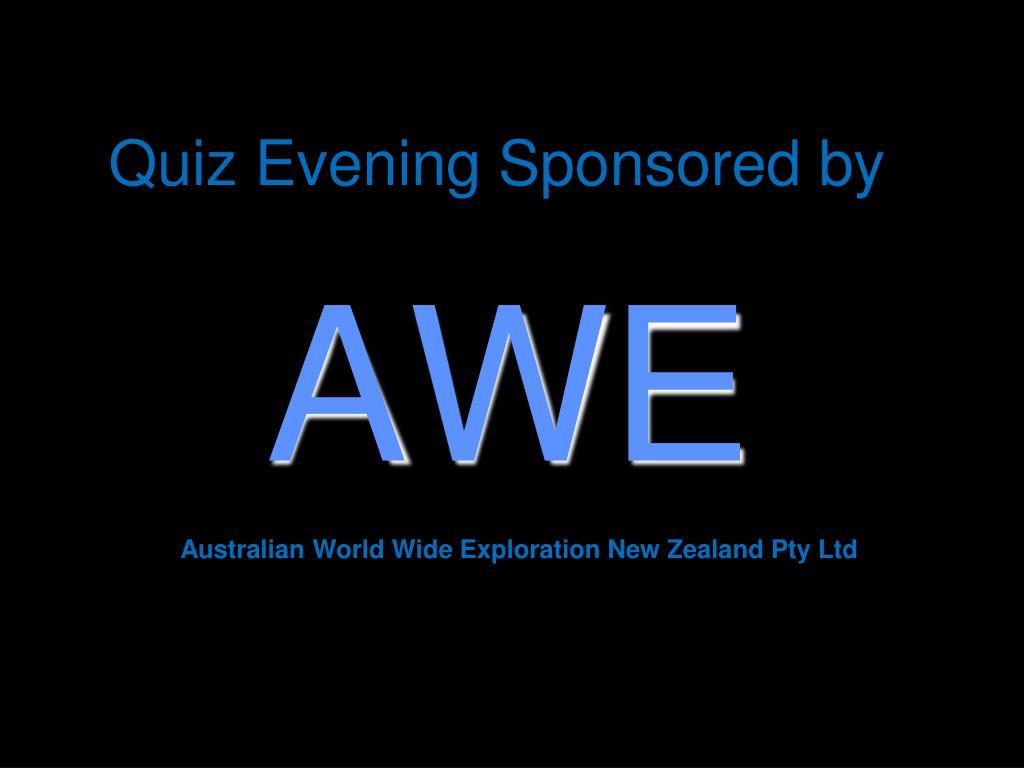 quiz evening sponsored by