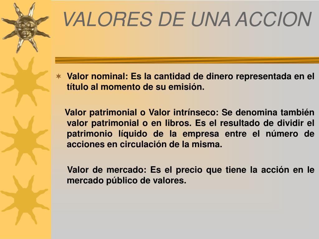 VALORES DE UNA ACCION
