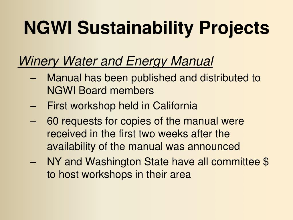 NGWI Sustainability Projects