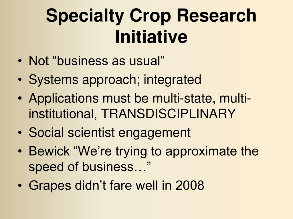 Specialty Crop Research Initiative