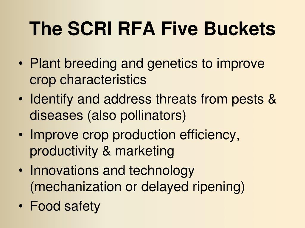 The SCRI RFA Five Buckets