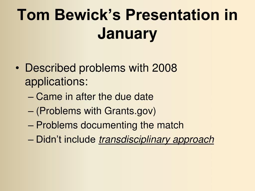 Tom Bewick's Presentation in January