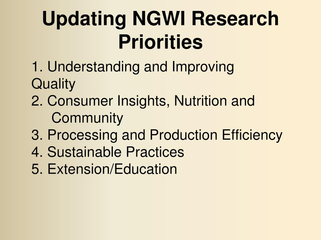 Updating NGWI Research Priorities