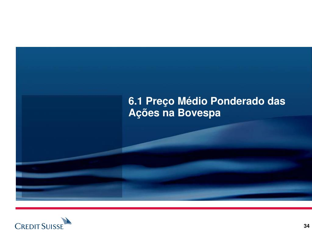 6.1 Preço Médio Ponderado das Ações na Bovespa