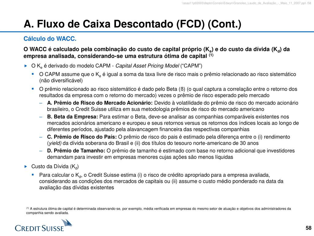 A. Fluxo de Caixa Descontado (FCD) (Cont.)