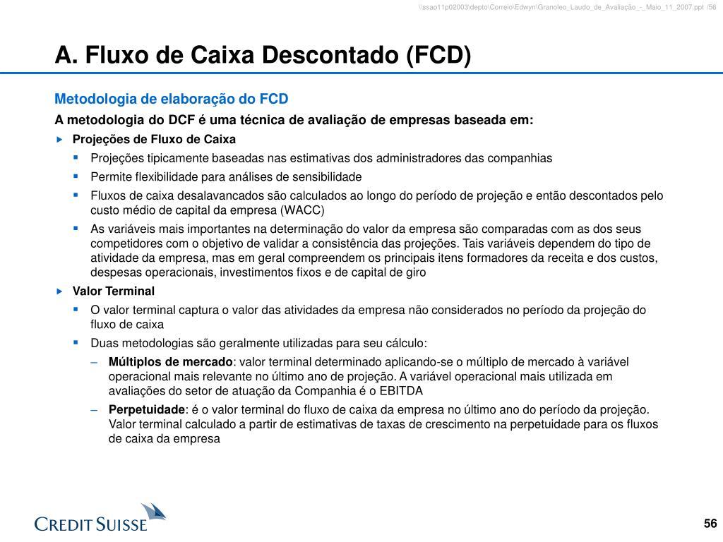 A. Fluxo de Caixa Descontado (FCD)