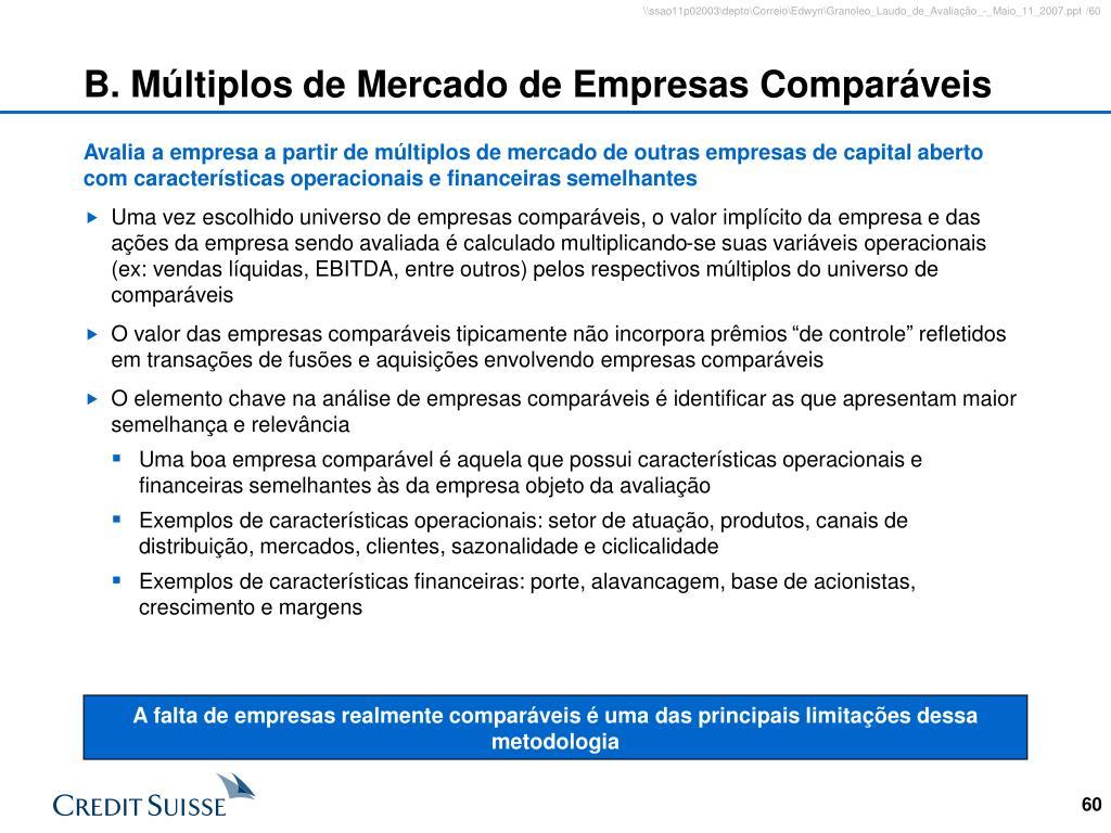 B. Múltiplos de Mercado de Empresas Comparáveis