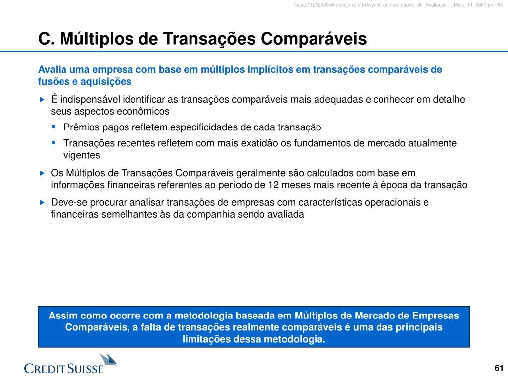 C. Múltiplos de Transações Comparáveis