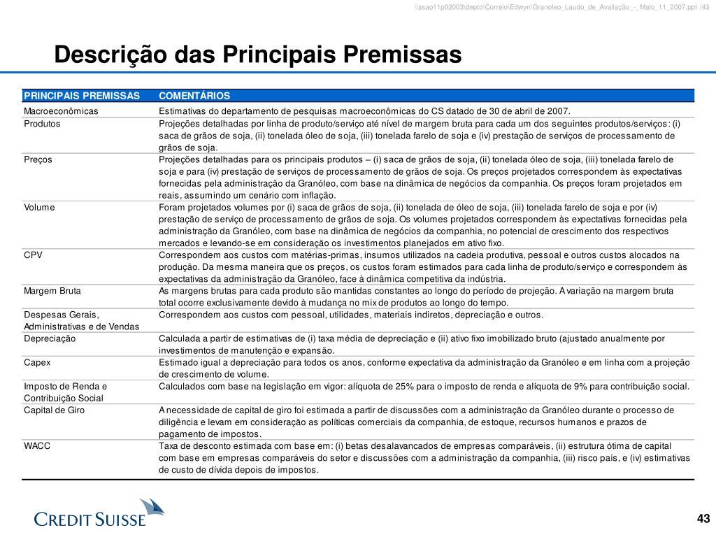 Descrição das Principais Premissas
