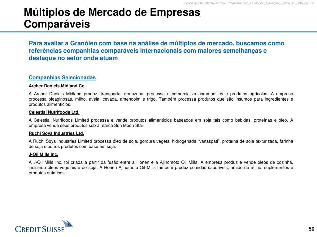 Múltiplos de Mercado de Empresas Comparáveis
