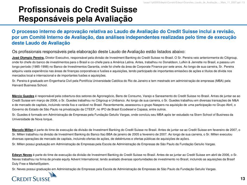 Profissionais do Credit Suisse Responsáveis pela Avaliação