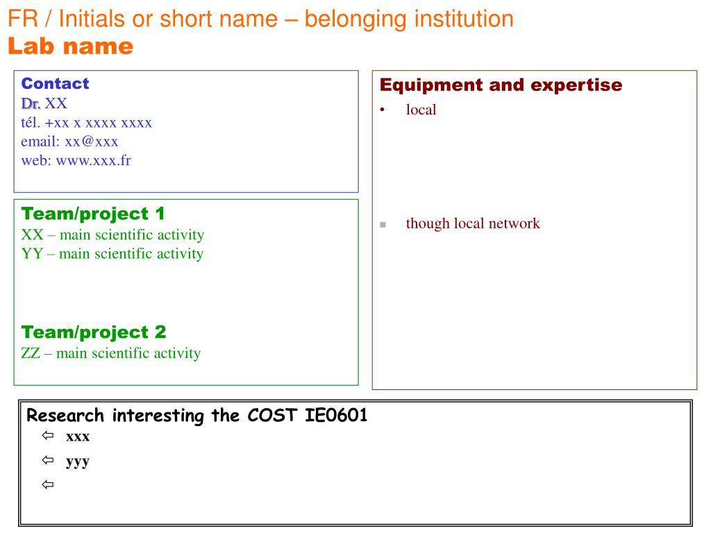FR / Initials or short name – belonging institution
