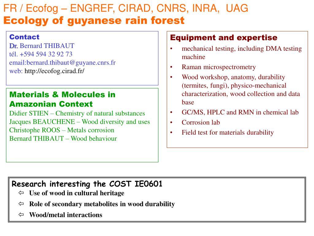 FR / Ecofog – ENGREF, CIRAD, CNRS, INRA,  UAG