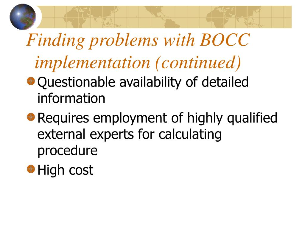 Finding problems with BOCC implementation (continued)