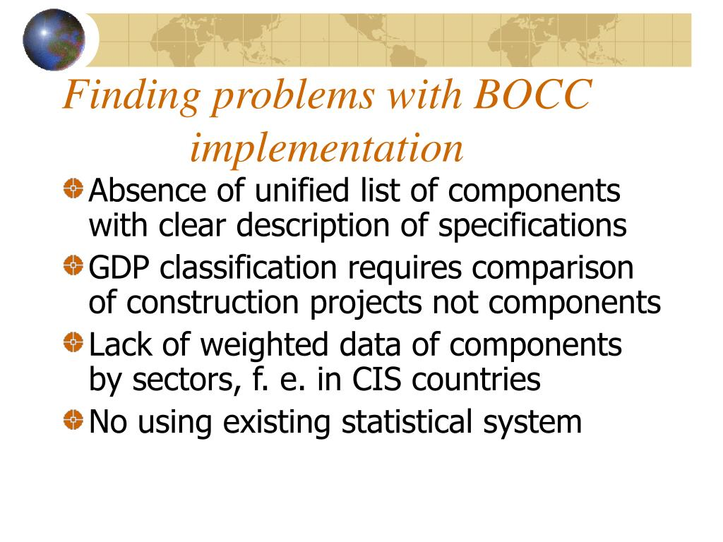 Finding problems with BOCC implementation
