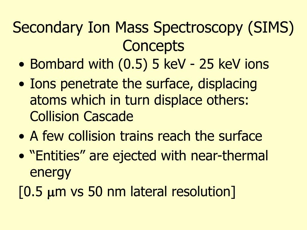 Secondary Ion Mass Spectroscopy (SIMS)