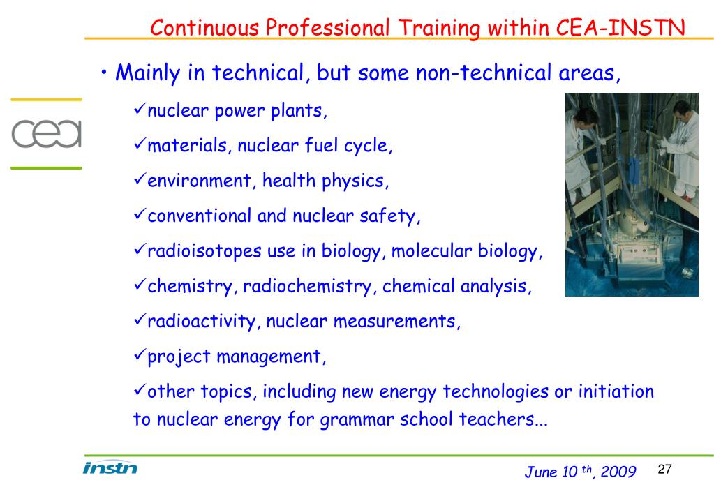 Continuous Professional Training within CEA-INSTN