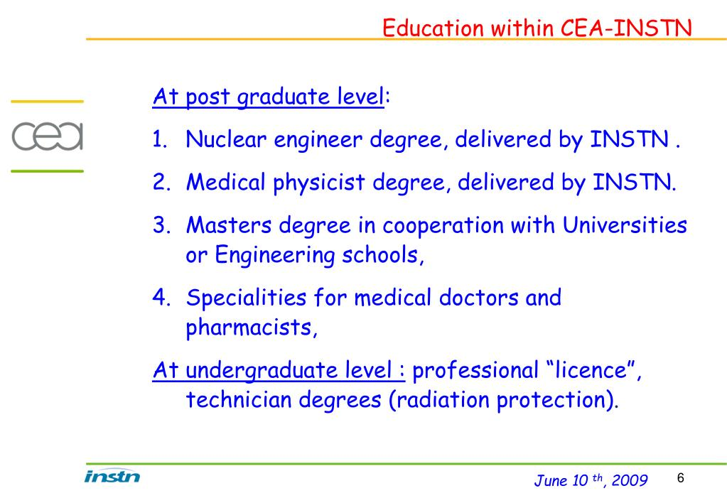 Education within CEA-INSTN
