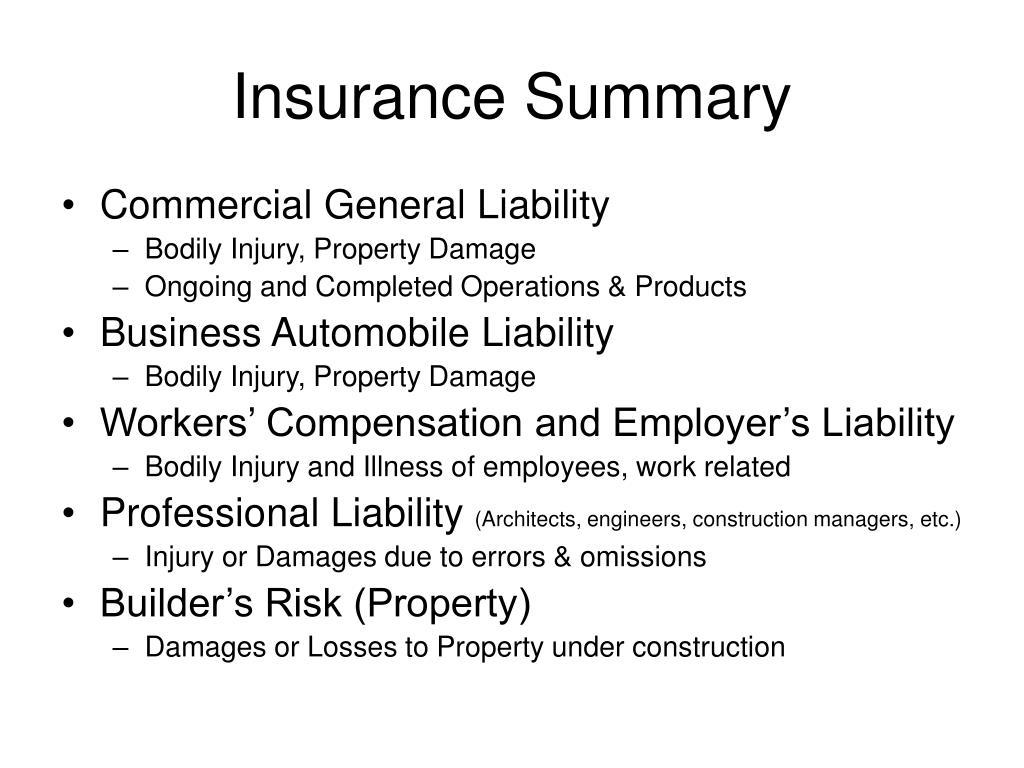 Insurance Summary
