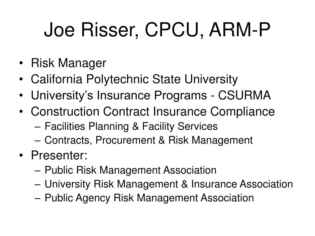 Joe Risser, CPCU, ARM-P