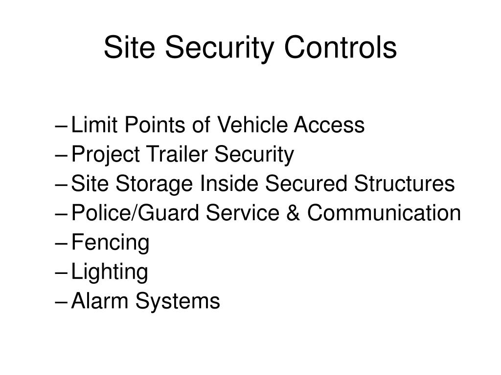 Site Security Controls