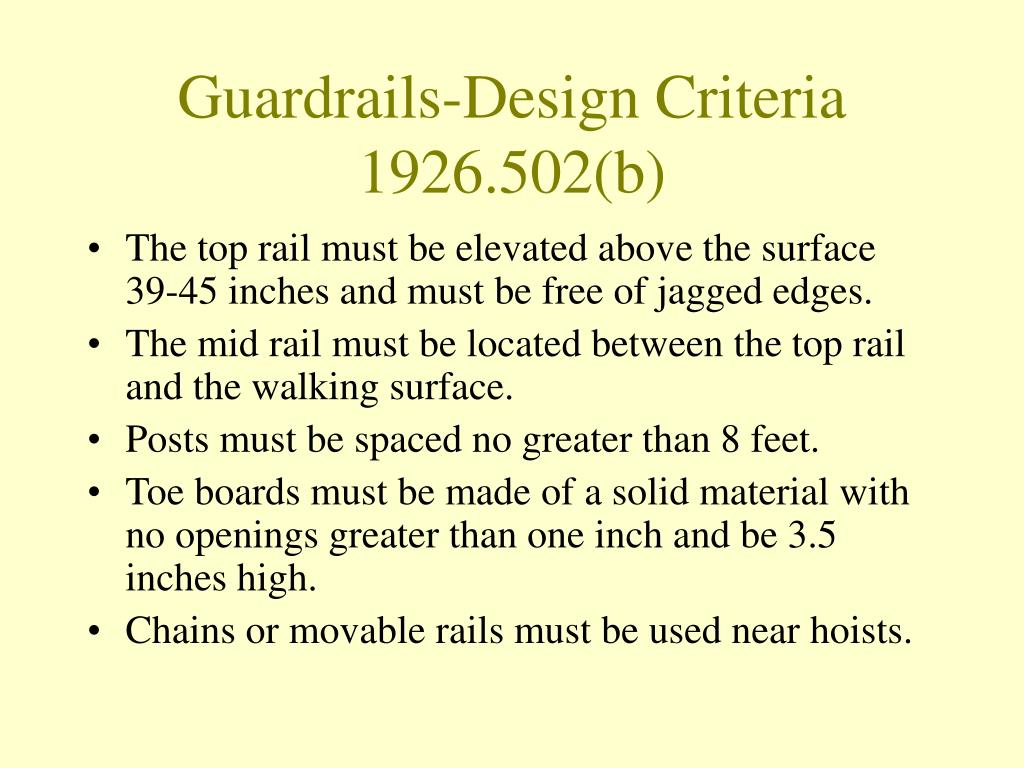 Guardrails-Design Criteria 1926.502(b)