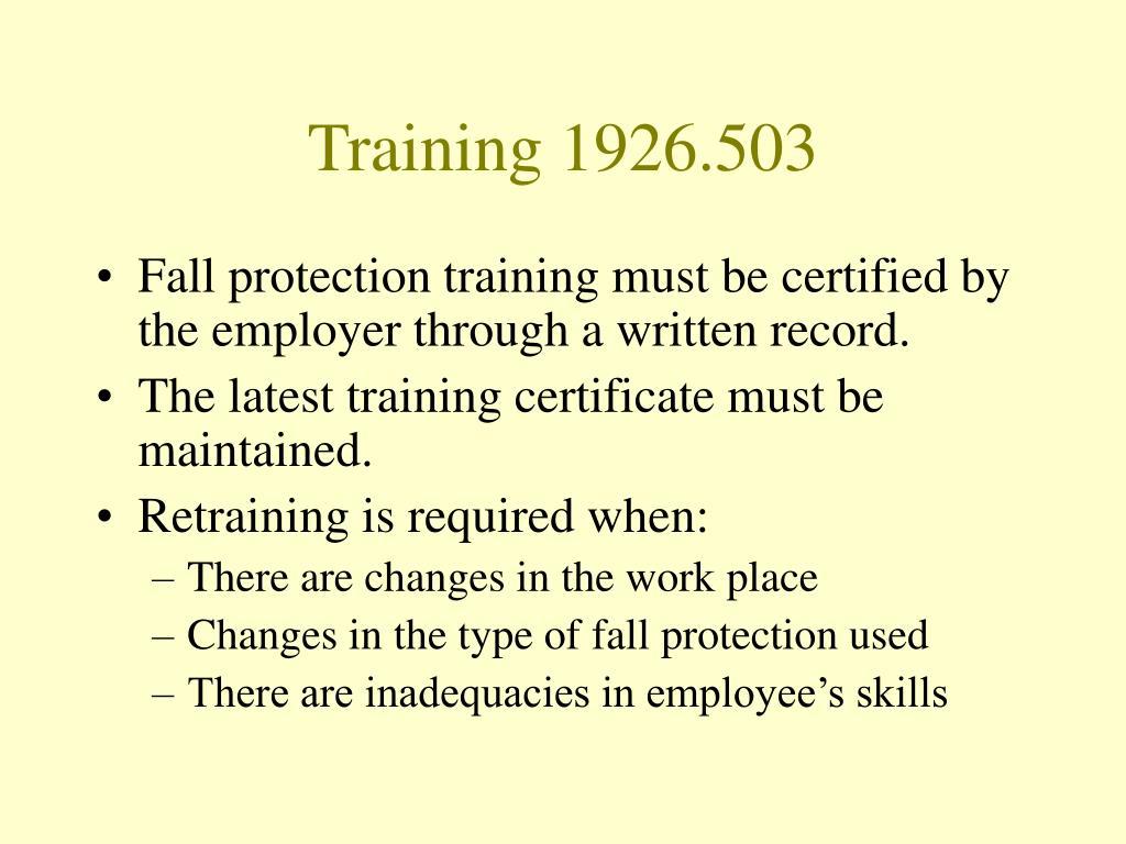 Training 1926.503