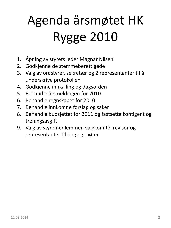 Agenda årsmøtet HK Rygge 2010