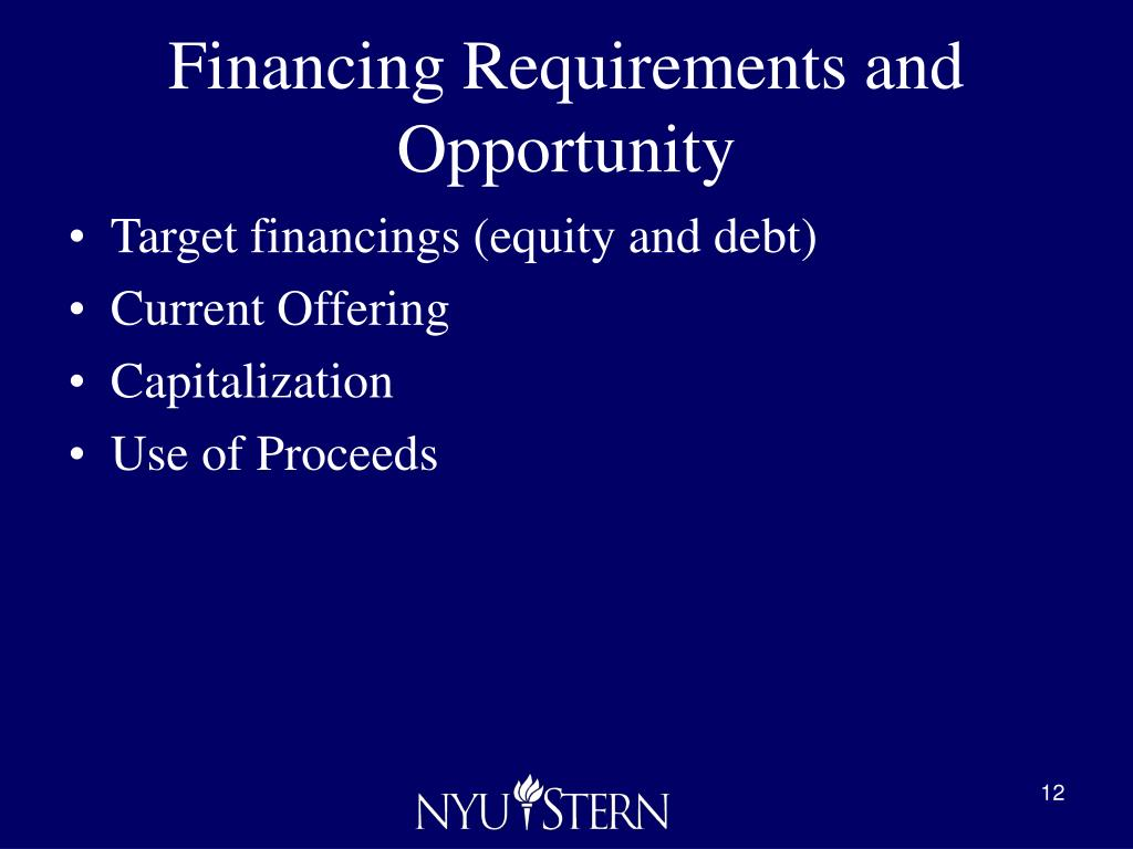 Financing Requirements and Opportunity