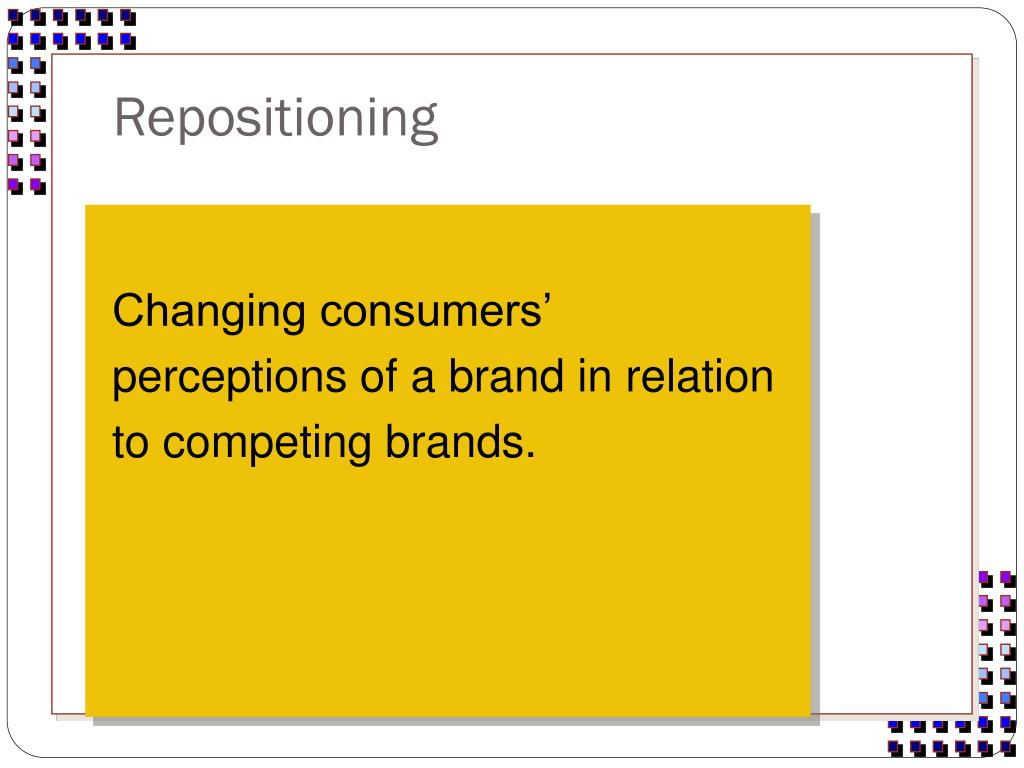 Changing consumers' perceptions of a brand in relation to competing brands.