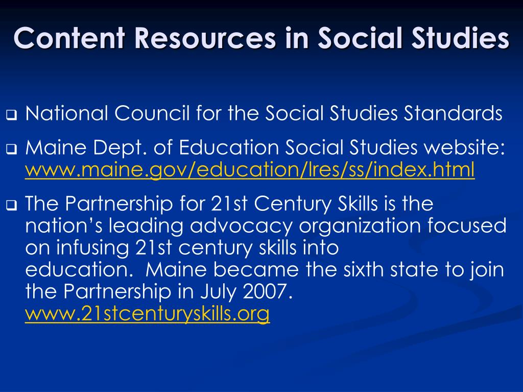 Content Resources in Social Studies