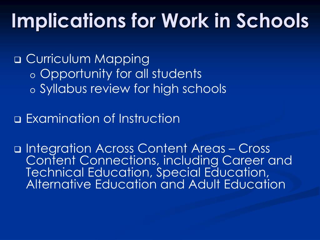 Implications for Work in Schools