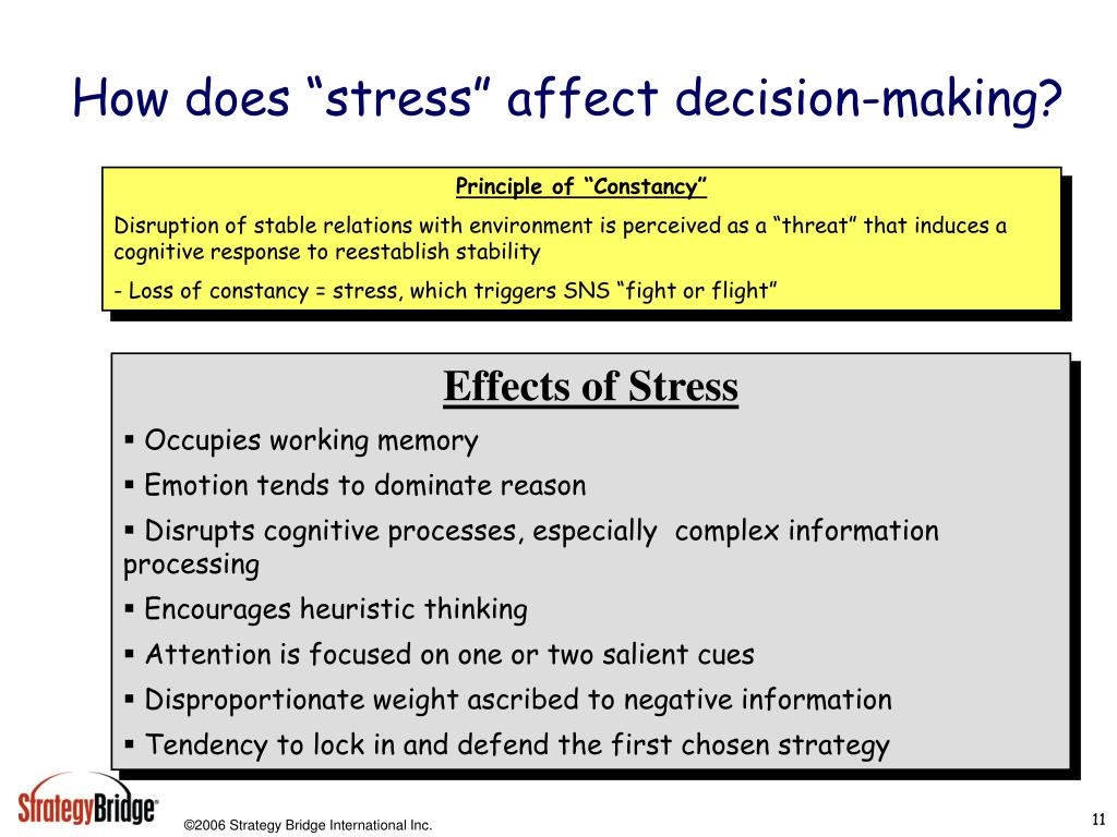 """How does """"stress"""" affect decision-making?"""