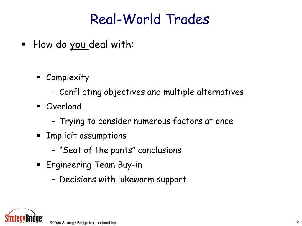 Real-World Trades