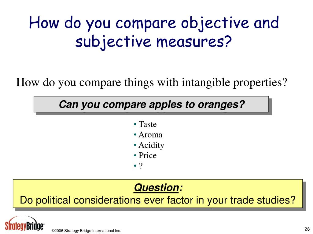 How do you compare objective and subjective measures?