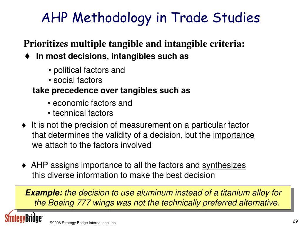 AHP Methodology in Trade Studies