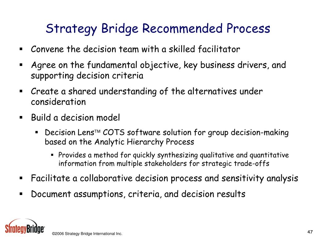 Strategy Bridge Recommended Process