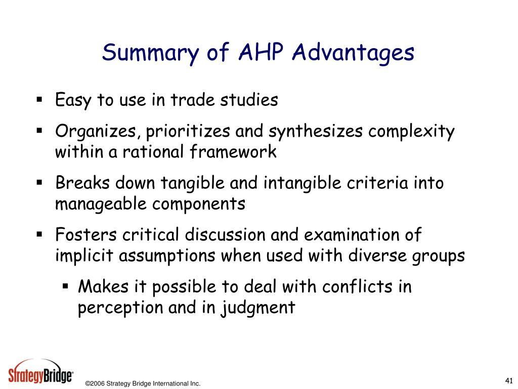 Summary of AHP Advantages
