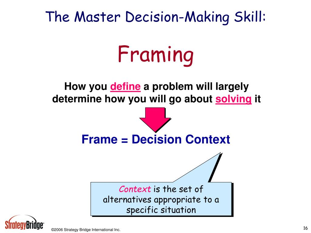 The Master Decision-Making Skill: