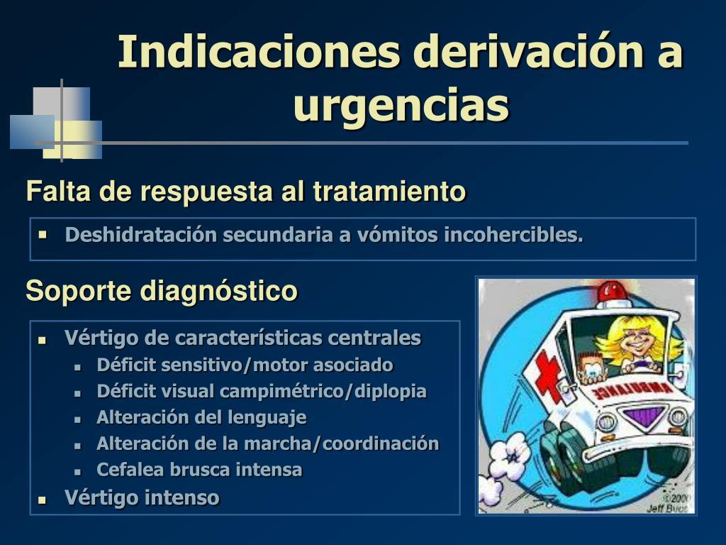 Indicaciones derivación a urgencias