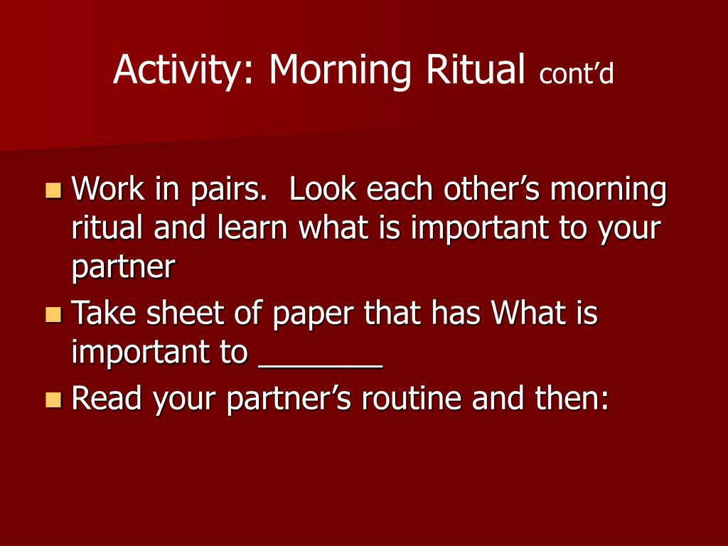 Activity: Morning Ritual
