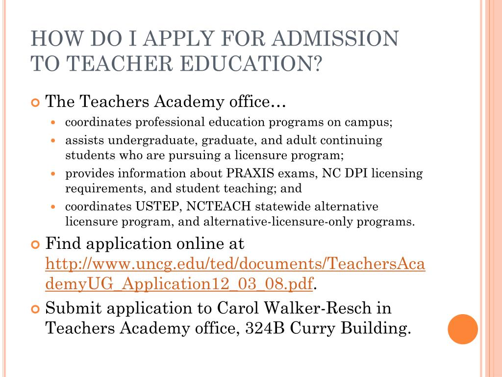 HOW DO I APPLY FOR ADMISSION TO TEACHER EDUCATION?
