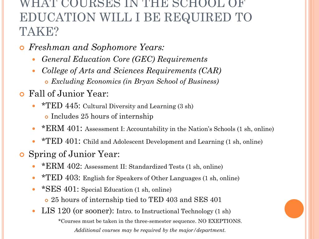 WHAT COURSES IN THE SCHOOL OF EDUCATION WILL I BE REQUIRED TO TAKE?