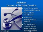 religion impact on nursing practice