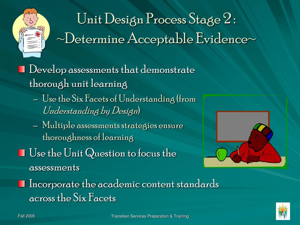 Unit Design Process Stage 2 :