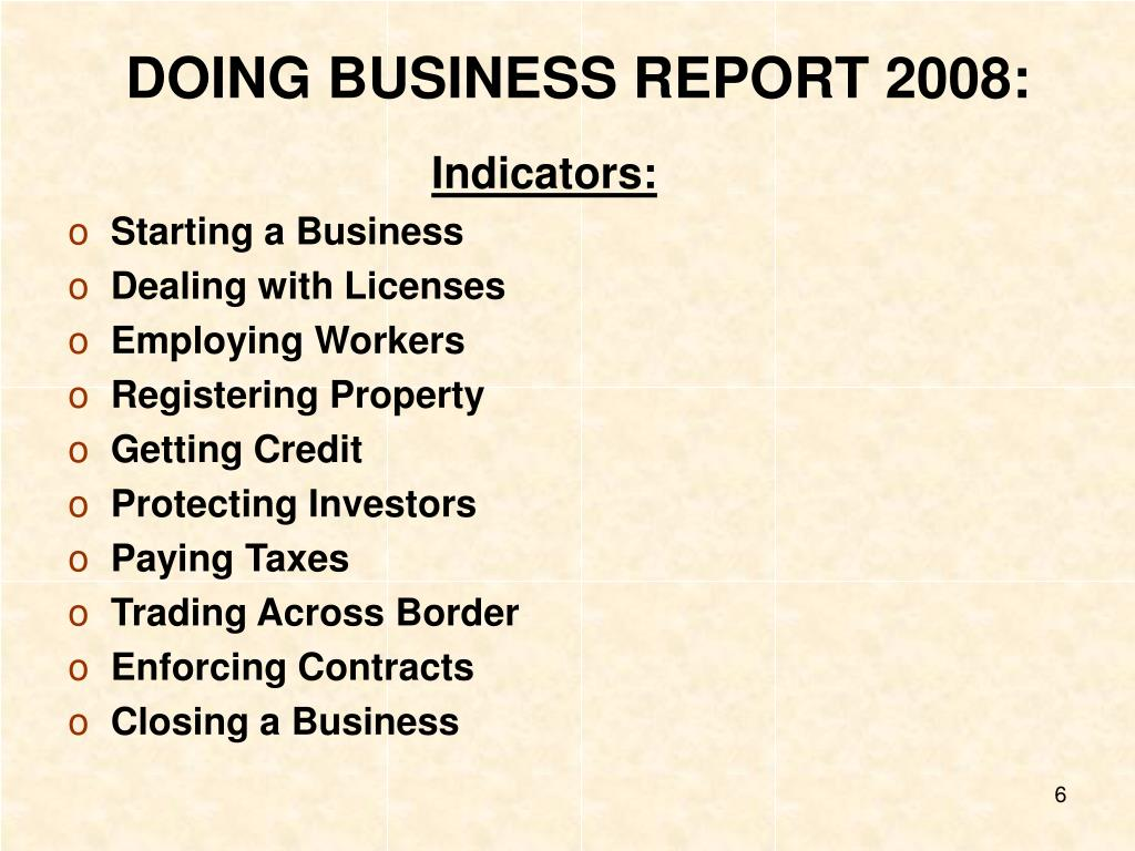 DOING BUSINESS REPORT 2008: